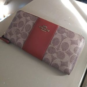 COACH Brand New Leather & Coated Canvas Zip Wallet